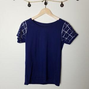 Raven + Lily Navy Embellished Short Sleeve Top